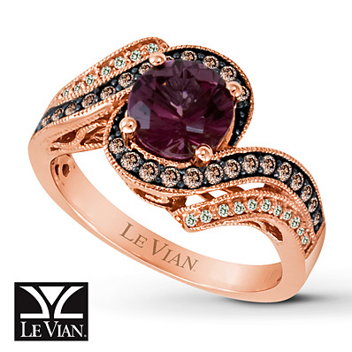 Kay Jewelers Rhodolite Garnet Ring 1/3 ct tw Diamonds 14K Strawberry Gold - Garnet