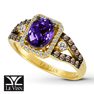 photo of Kay Jewelers Oval Amethyst Ring  3/8 ct tw Diamonds 14K Honey Gold - Amethyst
