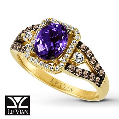 photo of Kay Jewelers Oval Amethyst Ring  3/8 ct tw Diamonds 14K Honey Gold - Amethyst