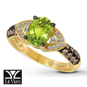photo of Kay Jewelers Oval Peridot Ring 1/3 ct tw Diamonds 14K Honey Gold - Peridot