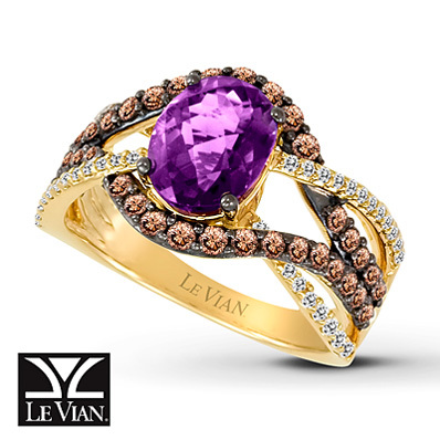Kay Jewelers Oval Amethyst Ring  7/8 ct tw Diamonds  14K Honey Gold - Amethyst