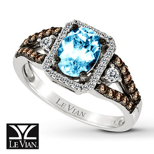 photo of Kay Jewelers Oval Aquamarine Ring 3/8 ct tw Diamonds 14K Vanilla Gold - Aquamarine