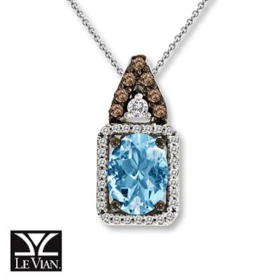 photo of Kay Jewelers Oval Aquamarine Necklace 1/6 ct tw Diamonds 14K Vanilla Gold - Aquamarine