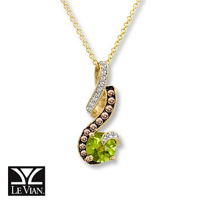 photo of Kay Jewelers Round Peridot Necklace 1/5 ct tw Diamonds  14K Honey Gold - Peridot
