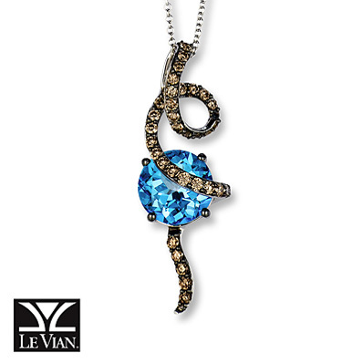 Kay Jewelers Blue Topaz Necklace 5/8 ct tw Diamonds 14K Vanilla Gold - Blue Topaz