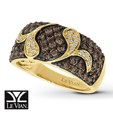 Kay Jewelers Chocolate Diamonds  Ring 1 ct tw Round-Cut 14K Honey Gold - Fashion Rings