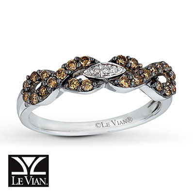 Kay Jewelers Chocolate Diamonds  Ring 3/8 carat Round-cut 14K Vanilla Gold - Ladies' Diamond Fashion