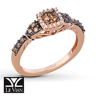 Kay Jewelers Chocolate Diamonds  Ring 1/2 carat t.w. 14K Strawberry Gold - Ladies' Diamond Fashion