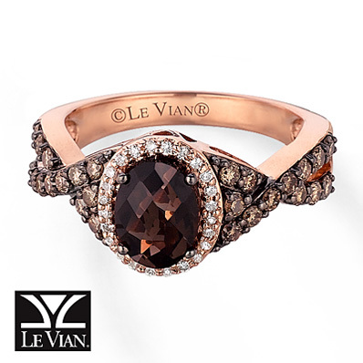 photo of Kay Jewelers Chocolate Quartz  Ring  5/8 ct tw Diamonds 14K Strawberry Gold - More Gemstones