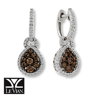 Kay Jewelers Chocolate Diamonds  1 ct tw Earrings 14K Vanilla Gold - More