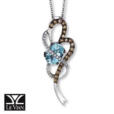 photo of Kay Jewelers Aquamarine Necklace 3/8 ct tw Diamonds 14K Vanilla Gold - Aquamarine
