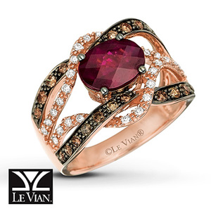 photo of Kay Jewelers Rhodolite Garnet Ring 1/2 ct tw Diamonds 14K Strawberry Gold - Garnet