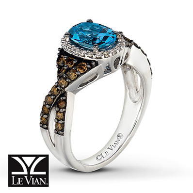 photo of Kay Jewelers Oval Blue Topaz Ring 5/8 ct tw Diamonds 14K Vanilla Gold - Blue Topaz