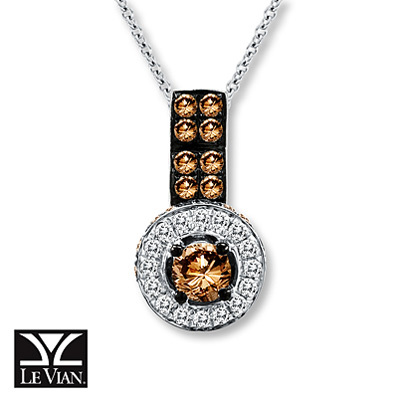Kay Jewelers Chocolate Diamonds  1 ct tw Necklace 14K Vanilla Gold - More