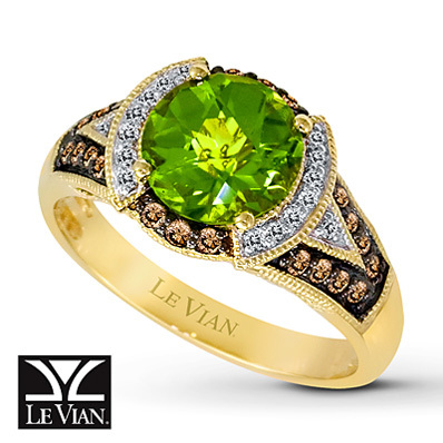 Kay Jewelers Peridot Ring 1/4 ct tw Diamonds 14K Honey Gold - Peridot