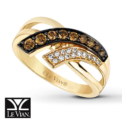 Kay Jewelers Chocolate Diamonds  Ring 3/8 ct tw Round-cut 14K Honey Gold - Ladies' Diamond Fashion