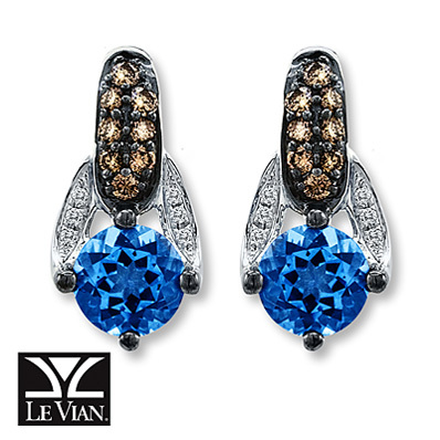 Kay Jewelers Blue Topaz Earrings 1/3 ct tw Diamonds 14K Vanilla Gold - Blue Topaz