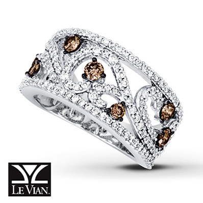 Kay Jewelers Chocolate Diamonds  Ring 1 1/3 cttw Round-cut 14K Vanilla Gold - Women's Diamond Fashion