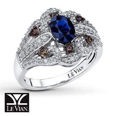 photo of Kay Jewelers Natural Sapphire Ring 1/2 ct tw Diamonds 14K Vanilla Gold - Gemstone