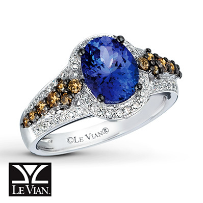 Kay Jewelers Blueberry Tanzanite  Ring 5/8 ct tw Diamonds 14K Vanilla Gold - Gemstone