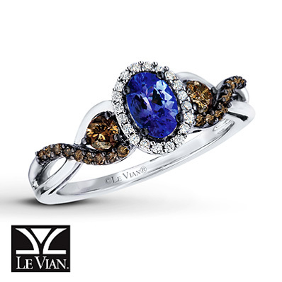 photo of Kay Jewelers Tanzanite Ring 1/2 ct tw Diamonds 14K Vanilla Gold - Gemstone