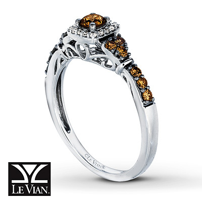 Kay Jewelers Chocolate Diamonds  Ring 1/2 ct tw Diamonds 14K Vanilla Gold - Women's Diamond Fashion