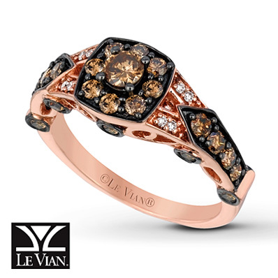 Kay Jewelers Chocolate Diamonds  Ring 1 ct tw Round-cut 14K Strawberry Gold - Women's Diamond Fashion