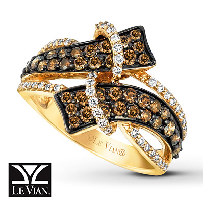 Kay Jewelers Chocolate Diamonds  Ring 1 1/6 ct tw Diamonds 14K Honey Gold - Women's Diamond Fashion