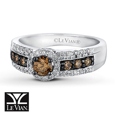 Kay Jewelers Chocolate Diamonds  Ring 1/2 ct tw Round-cut 14K Vanilla Gold - Women's Diamond Fashion