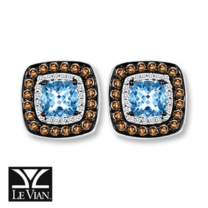 photo of Kay Jewelers Aquamarine Earrings 1/2 ct tw Diamonds 14K Vanilla Gold - Gemstone