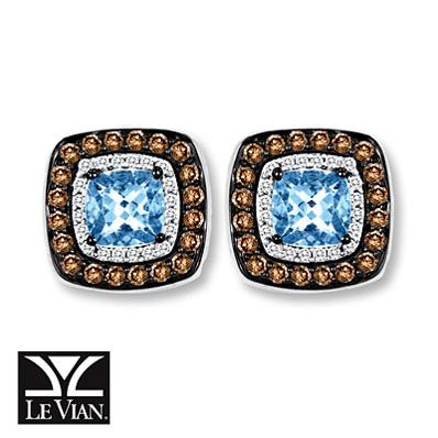photo of Kay Jewelers Aquamarine Earrings 1/2 ct tw Diamonds 14K Vanilla Gold - Gemstone