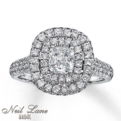 photo of Kay Jewelers Diamond Engagement Ring 1 7/8 ct tw Cushion-cut 14K White Gold- Bridal