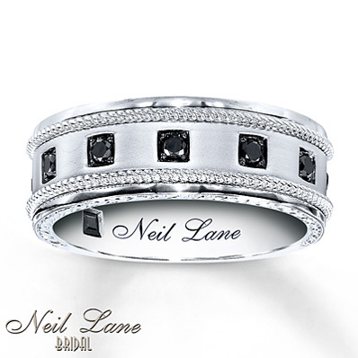 photo of Kay Jewelers Men's Black Diamond Band 1/4 ct tw Round-Cut 14K White Gold- Men's Bands