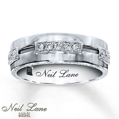 Gentil Kay Jewelers Menu0027s Diamond Band 1/3 Ct Tw Round Cut 14K White Gold  Menu0027s  Bands