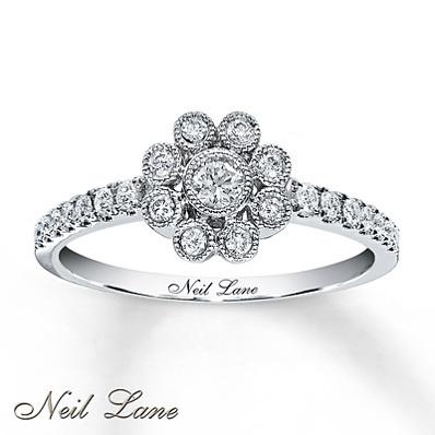 photo of Kay Jewelers Diamond Flower Ring 1/3 ct tw Round-cut 14K White Gold- Ladies' Diamond Fashion
