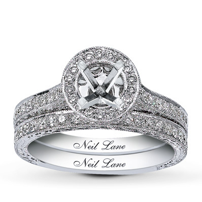 Kay Jewelers Diamond Bridal Setting 1 1/3 ct tw Round-Cut 14K White Gold- Kay Design-A-Ring™