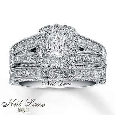 Kay Jewelers Diamond Bridal Set 1 5/8 ct tw Cushion-cut 14K White Gold- Bridal