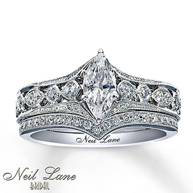 photo of Kay Jewelers Diamond Bridal Set 7/8 ct tw Marquise-Cut 14K White Gold- Bridal