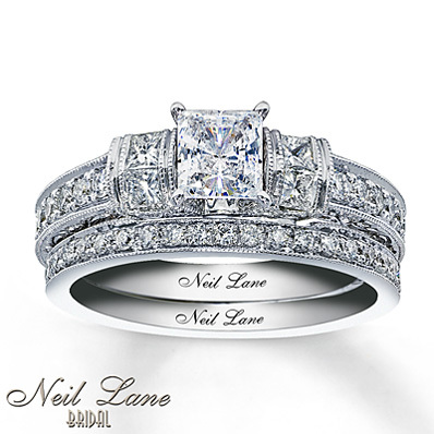 photo of Kay Jewelers Diamond Bridal Set 1 1/3 ct tw Princess-Cut 14K White Gold- Bridal
