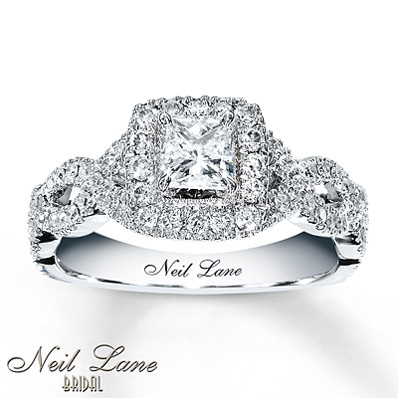 kay jewelers diamond engagement ring 1 ct tw princess cut 14k white gold engagement - Wedding Rings At Kay Jewelers