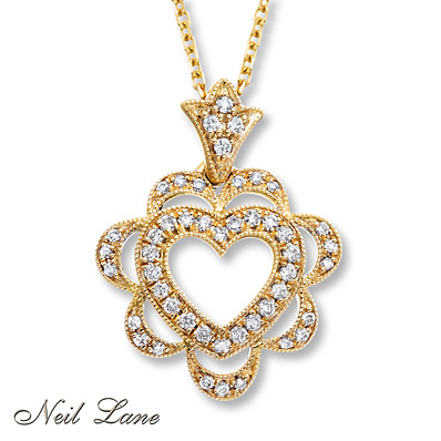 Kay Jewelers Diamond Heart Necklace 1/5 ct tw Round-cut 14K Yellow Gold- Diamond Necklaces & Pendants