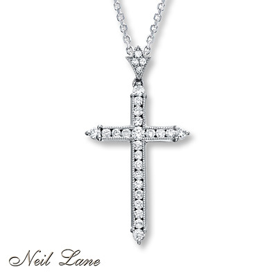 Kay Jewelers Diamond Cross Necklace 1/3 ct tw Round-cut 14K White Gold- Diamond Necklaces & Pendants