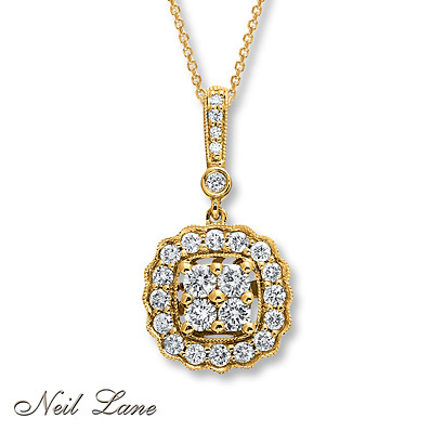 Kay Jewelers Diamond Necklace 1/2 ct tw Round-cut 14K Yellow Gold- Diamond Necklaces & Pendants