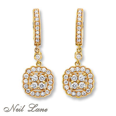 Kay Jewelers Diamond Earrings 3/4 ct tw Round-cut 14K Yellow Gold- Diamond Earrings