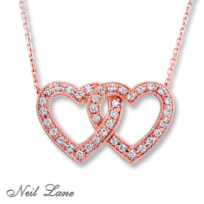 Kay Jewelers Diamond Heart Necklace 1/8 ct tw Round-cut 14K Rose Gold- Diamond Necklaces & Pendants