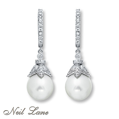 photo of Kay Jewelers Cultured Pearl Earrings 5/8 ct tw Diamonds 14K White Gold- Diamond Earrings