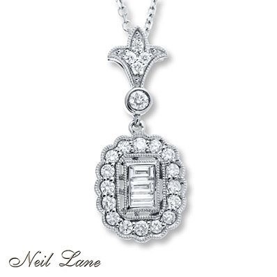 Kay Jewelers Diamond Necklace 1/2 carat tw  14K White Gold- Diamond Necklaces & Pendants