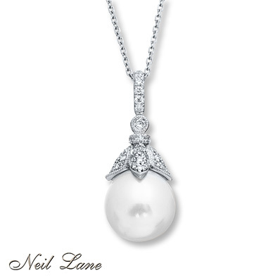 Kay Jewelers Cultured Pearl Necklace 1/4 ct tw Diamonds 14K White Gold- Diamond Necklaces & Pendants