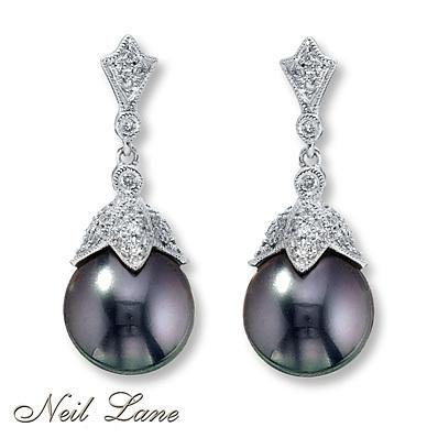 photo of Kay Jewelers Cultured Pearl Earrings 1/3 ct tw Diamonds Sterling Silver- Diamond Earrings