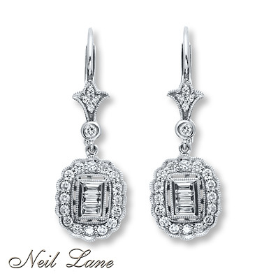 Kay Jewelers Diamond Earrings 3/4 carat tw 14K White Gold- Diamond Earrings